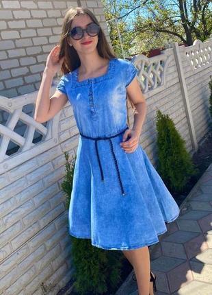 Платье женское тонкий летний джинс 52р