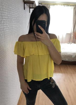 Яркий желтый топ топик майка футболка