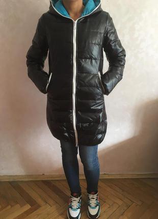 Куртка пальто пуховик xs-s 100% пух идеальное состояние