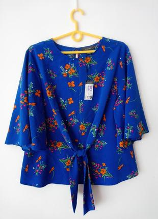 Синяя блуза с цветочным принтом primark