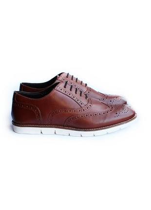 Новые! туфли спорт броги коричневые onfire кожаные