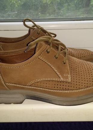 Песочные замшевые ботинки туфли мокасины с перфорацией на шнуровке sioux натуральная кожа