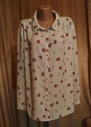 Шифоновая белая блузка george с новогодним принтом размер 20/2xl-3xl-4xl