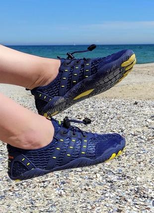 Синие аквашузы женские сині аквашузи жіночі літні кеды кроссовки сетка слипоны для моря на пляж