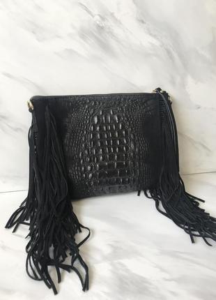Италия сумка замша и кожа с бахромой