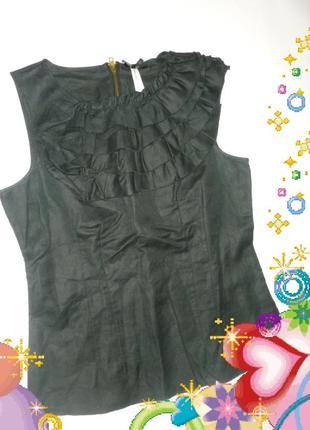 Модная стильная натуральная блуза черная красивая элегантная рюши тренд