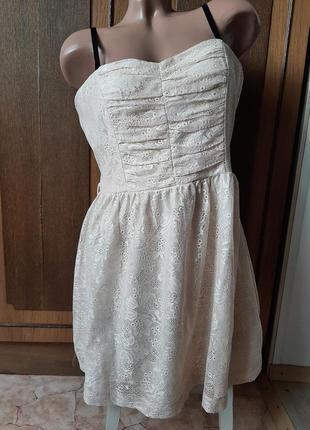 Нежное кружевное кремовое платье бюстье xxi