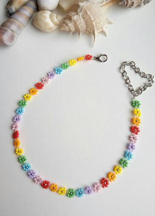 Чокер из бисера ромашки цветочки, квіти, веселка, радуга, тренд 2021, колье, ожерелье!