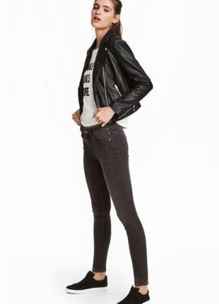 H&m джинсы скинни low waist серые узкие стандартная талия р.44 укр