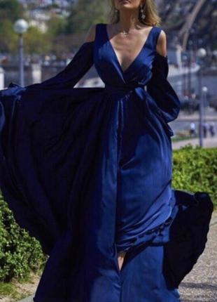 Синее платье в пол шёлк армани