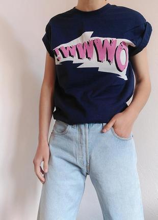 Бавовняна футболка з надписом topshop синій топ майка zara mango bershka cos h&m