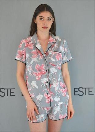 Молодежная пижама рубашка шорты с кантом