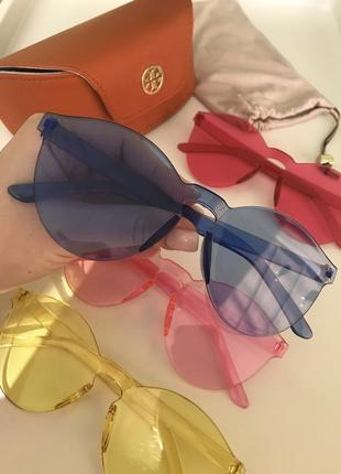 Модные  синие желтые красные черные розовые солнцезащитные очки без оправы