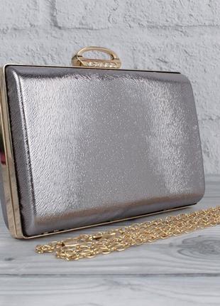 Вечерний клатч rose heart 8800 темно-серебристый, сумочка на цепочке