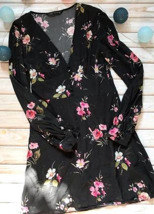 Платье цветочный принт zara