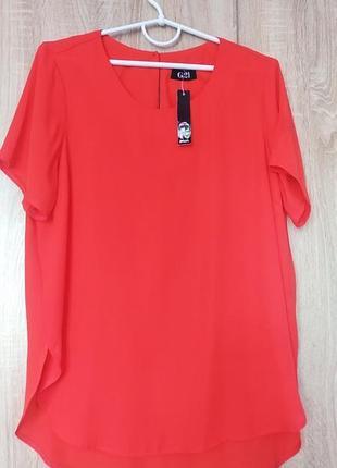 Яркая опанжевая шифоновая блузочка блузка блуза размер 50-52