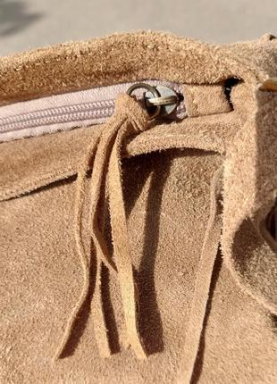 Сумка-планшетка с бахромой (замша)4 фото
