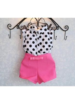 Літній костюм для дівчинки блуза і шорти . горошок