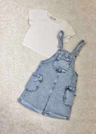 Джинсовые комбинезоны для девочек + футболка
