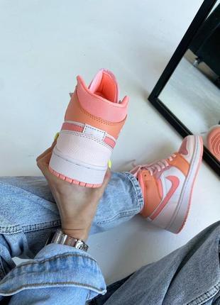 Кроссовки найк женские джордан обувь взуття кеды nike air jordan high orange8 фото