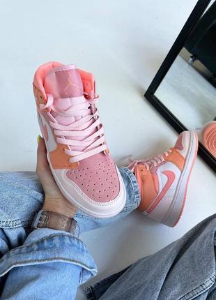 Кроссовки найк женские джордан обувь взуття кеды nike air jordan high orange2 фото