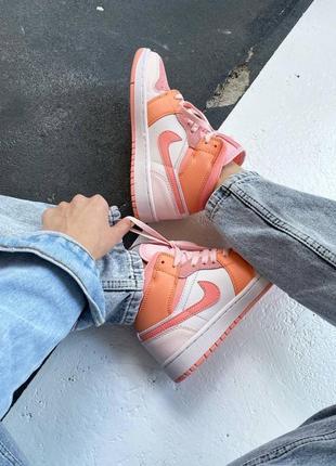 Кроссовки найк женские джордан обувь взуття кеды nike air jordan high orange4 фото