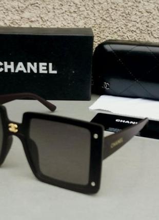 Chanel очки женские солнцезащитные большие прямоугольные коричневые поляризированые