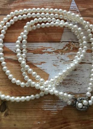 Ожерелье бусы два ряда цвет белый замок круг