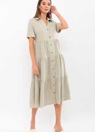 Оливковое длинное летнее платье иветта, арт. 69428