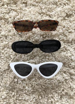 Солнцезащитные очки 🕶 белые, черные, леопардовые очки ретро