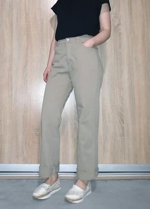 Плотные мягкие прямые джинсы mom wide leg бежевого цвета на высокой посадке angel