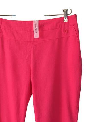 Скидка до 1.07! модные льняные брюки-клеш ярко-розового цвета р.18
