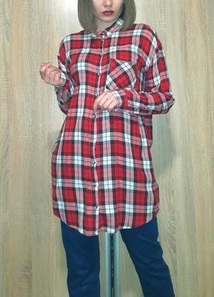 Удлиненная свободная хлопковая красная рубашка-платье в клетку h&m
