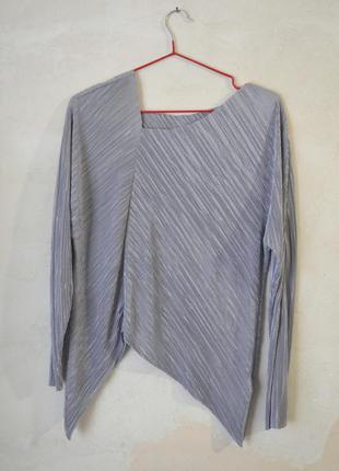 Блузка асимметрия плиссировка металлик