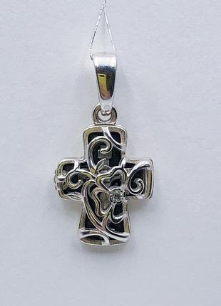 Крест крестик хрест цветочный детский женский, серебро 925, родий