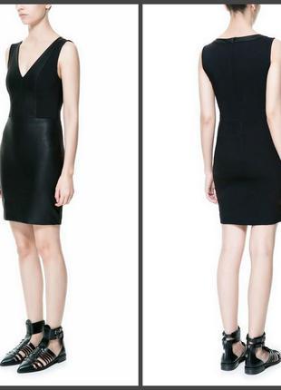 Комбинированное платье по фигуре,вставки иск.кожи (s/m см.замеры, указан l )