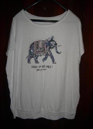 Белая футболка со слоном