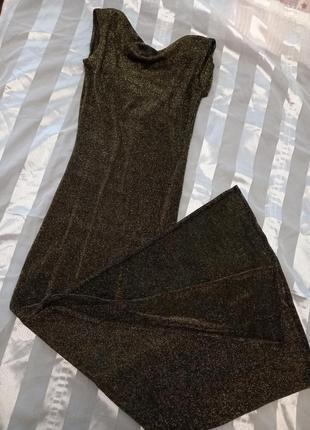 Платье люрекс черно-золотой