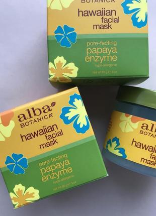 Гавайская маска для лица с ферментом папайи для сужения пор alba botanica hawaiian mask