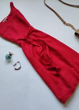 Красное льняное платье миди laura ashley