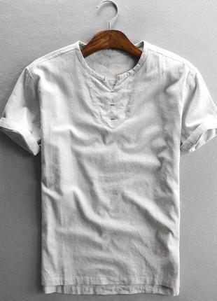 Мужская молочная футболка из льна