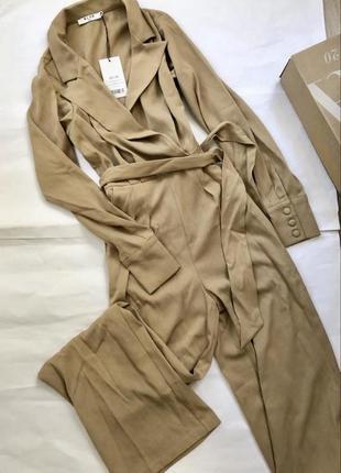 Комбинезон бежевый брюки палацо zara h&m