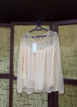 Шикарная блуза цвет пудра
