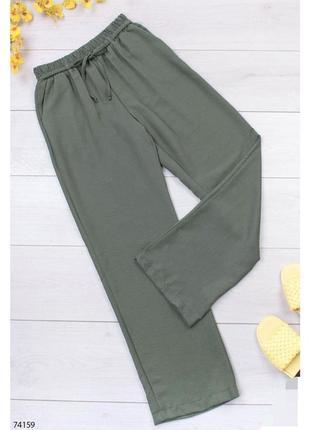 Женские брюки цвета хаки прямые на резинке шнуровке жіночі прямі хакі зелёные зеленые зелені на высокой посадке с завышенной талией турция турецкие