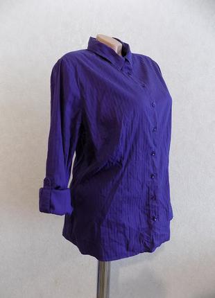 Рубашка блузка фиолетовая в полоску фирменная biaggini размер 50