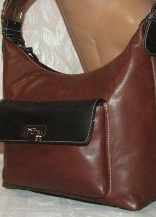 Стильная, шикарная , вместительная сумка натуральная  кожа фирма new york/индия