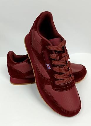 Кроссовки красные, бордовые на пенной подошве