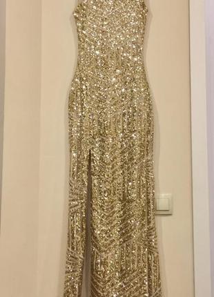 Нарядное шикарное длинное платье в пайетках