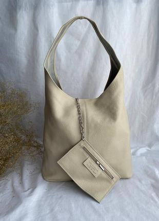 Новинка! сумка женская шоппер кожаная на длинных ручках производство италия, бежевый серый