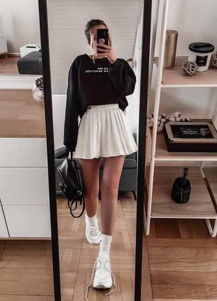 Белая юбка плиссе трендовая юбочка мини женская в 3-х цветах